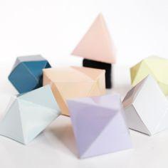 DIY folded geometric paper ornaments