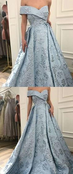 Unique Prom Dress A-Line Off-the-Shoulder Sweep Train Light Blue Printed Evening Dress by DRESS, $260.00 USD