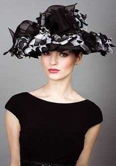 Rachel Trevor Morgan, S/S 2014. Two tone flower hat with black bow. #passion4hats