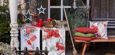 weihnachtliche Stimmung auf der Veranda mit Tischläufern und Kissen von Apelt, Artikel 8020, 8019, TORINO