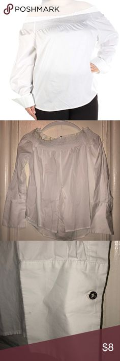 Tommy Hilfiger Collection Off the Shoulder Shirt Material is 97% cotton and 3% elastane/ has cut in the front middle to tie into a knot as a belly shirt/ this is worn once for a modeling gig/ new with no tags Tommy Hilfiger Tops Blouses
