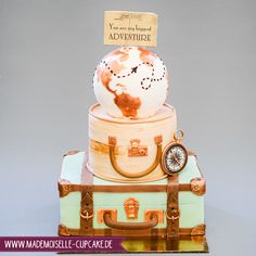 Weltreise world map cake vintage koffer Hochzeitstorte Mademoiselle Cupcake, Mountain Bike Cake, Map Cake, Bike Cakes, Travel Cake, Candy Bar Party, Cupcakes, Travel Themes, Themed Cakes