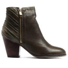 ROBOTY | Cinori Shoes #ankleboot #booties #blockheel #midheel #olive #embrodery #leather #djangojuliette #cinori #cinorishoes