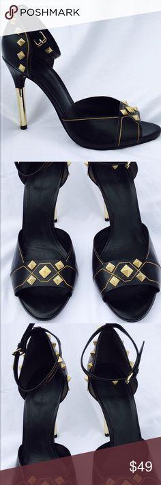 """Sigerson Morrison Black Gold Stud Heel Shoe Sandal In great shape. Super sexy gold stud and black leather Sandal. 4.5"""" gold metal covered heel. BUNDLE AND SAVE! Sigerson Morrison Shoes Heels"""