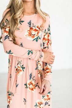 Floral dresses are all the rage, and for good reason! Pair it with a cute denim jacket, maybe a cardigan, or let it stand out on it's own. This gorgeous blush f