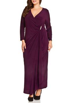 R & M Richards Sonya Wrap Dress in Plum - Beyond the Rack