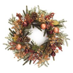 Melrose 24 in. Mixed Foilage Unlit Wreath with Ornaments and Berries - 61135