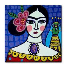 Mexican Folk Art Ceramic Tile  Frida Kahlo by HeatherGallerArt, $20.00