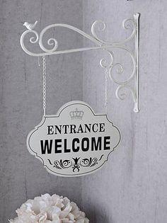 Metallschild Brocante Welcome Schild Shabby Chic Türschild Vintage
