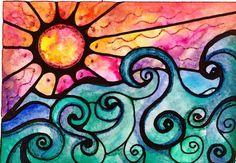 Sunview 8 x 10  sunset sun art print painting door RobinMeadDesigns, $20.00