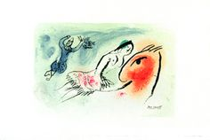 Chagall Marc : Lithographie originale : Carte de voeux pour Aimé Maeght