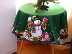 Finished - Bucilla Christmas Tree Skirt Or Table Cloth - Candy Snowman Christmas Tree And Santa, Felt Christmas Decorations, Christmas Makes, Holiday Tree, Christmas Art, Christmas Stockings, Christmas Ornaments, Felt Crafts, Diy And Crafts