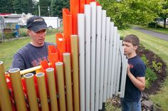 Trey Swanson with his father, Jeff, install an outdoor xylophone as part of the interactive Sound Garden along the Centennial Trail in downtown Arlington on Saturday. Eagle Scout Project Ideas, Girl Scout Gold Award, Sound Installation, Sensory Garden, Garden Canopy, Music Wall, Outdoor Classroom, Music Activities, Outdoor Play
