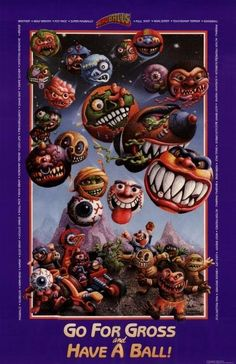 A promotional poster from 1986 depicting the characters available in the Madballs line of toys 1980s Toys, Retro Toys, Vintage Toys, Childhood Toys, Childhood Memories, Monster Board, Step On A Lego, 80s Kids, Vintage Horror