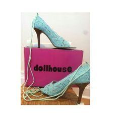 NEW IN BOX DOLLHOUSE lace up heels NEW IN BOX DOLLHOUSE lace up heels  these are a must have for spring / summer shoe collection. Laces up around ankle Dollhouse Shoes Heels