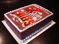 Kansas City Chiefs Chocolate Brownie Surprise Cake..Konner would love this!