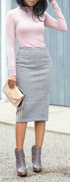 Pink & Grey Pencil Skirt Turtleneck Business Casual