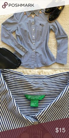 """United Colors of Benetton button down shirt, sz S United Colors of Benetton button down shirt in blue and white stripes in a tapered waist, feminine fit. In good used condition from a smoke-free/pet-free home. Bust: 18.5"""", Length: 25.5"""". Size: S United Colors Of Benetton Tops Button Down Shirts"""