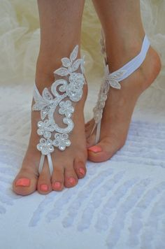 barefoot sandals Beach wedding sandals white by UnionTouch on Etsy