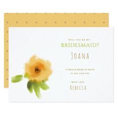 #flower - #CHEERFUL YELLOW ORANGE FLOWERS Bridesmaid Card