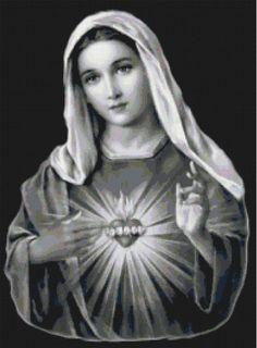 Handmade Black and White Virgin Mary by BellaStitcheryDesign