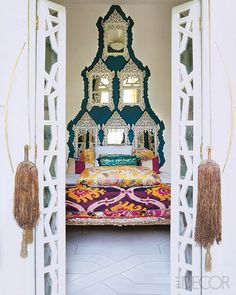 Liza Bruce home in Morocco - love the mirrors as headboard