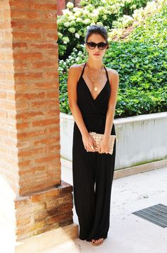black jumpsuit - don't think I could pull this off, but looks super cute for vacation!