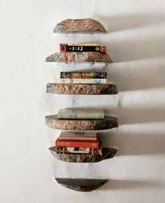 very creative - stone bookshelves