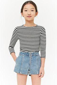 Girls Striped Knit Tee (Kids) - Best Fashions for All Boys Fall Fashion, Tween Fashion, Fashion Outfits, Women's Fashion, Fashion Blogs, Fashion Clothes, Girls Summer Outfits, Cute Girl Outfits, Trendy Outfits