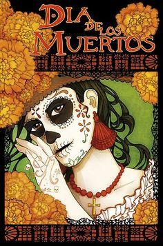 Dia de los muertos Art Nouveau poster
