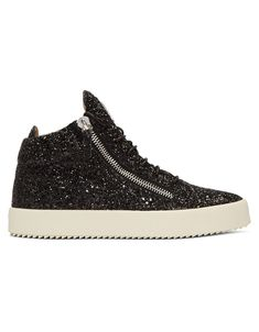 GIUSEPPE ZANOTTI Black Glitter May London High-Top Sneakers · VERGLE