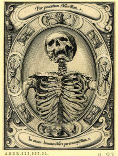 """A skeleton; set in an oval frame with hourglasses and skulls and bones"" - From a series of six engravings of memento mori* by the German artist Alexander Mair, [British Museum] Danse Macabre, Macabre Art, Vanitas, Memento Mori Art, Totenkopf Tattoos, Momento Mori, Desenho Tattoo, Arte Horror, Skull And Bones"