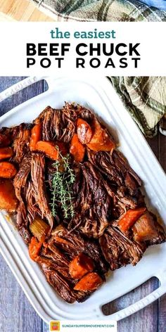 This Beef Chuck Roast Recipe is the easiest and most deliciously moist pot roast you will ever eat! Deeply flavorful and fork-tender, this is our best chuck roast recipe with so much to offer. #SundaySupper #beefchuckroast #beefroast #chuckroast #chuckroastrecipes #easyrecipes #dinners via @thesundaysupper