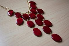 Red Statement Necklace, would not make it as long, I have a tiny neck