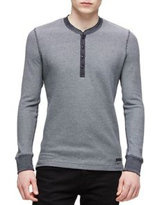 Two-Tone+Waffle+Knit+Henley+Tee,+Dark+Gray+by+Burberry+Brit+at+Neiman+Marcus.
