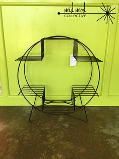 Mid century modern metal plant stand. Available at Mid Mod Collective. Email midmodcollective@gmail.com for info. SOLD!