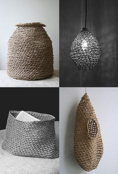 Home Decor Objects Ideas : These baskets are handmade from recycled paper by artisans at Best Before in Paris. Corinne Muller and Piotr Oleszkowicz from Best Before breathe new life into the ancient Korean craft of paper weaving and knotting. Arts And Crafts, Paper Crafts, Diy Crafts, Lampe Crochet, Architecture Origami, Paper Weaving, Flax Weaving, Paper Basket, Crochet Home