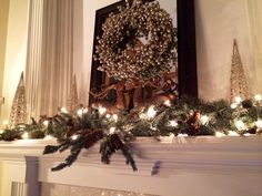 Christmas mantle..this is close to my wreath and love the decor she put with it!!!!