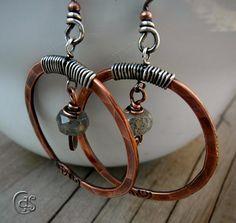 Labradorite Copper Earrings Rustic Wire by ArtandSoulJewelry