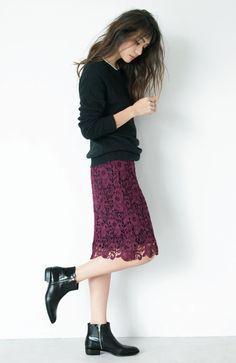 冬のコーデが華やぐ暖かくも美しい、レーススカート。 IEDIT レーベルコレクション裏フリースがあたたかいエンブロイダリーレースのペンシルスカートの会(3回限定コレクション)