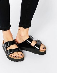 8096a05d9f8d Birkenstock Arizona Platform Patent Black Slider Flat Sandals at asos.com