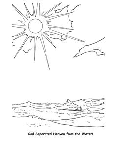 bible printables creation coloring pages bible creation day 2