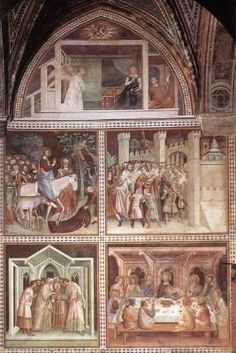 BARNA DA SIENA Scenes from the New Testament  c. 1340 Fresco, height 800 cm Collegiata Santa Maria Assunta, San Gimignano  Following Vasari, the frescoes in the north aisle of the collegiate church in San Gimignano were long attributed to a painter by the name of Barna da Siena. Vasari based this attribution on Ghiberti, who in the Commentarii (written about 1447) adopted a tradition that was obviously incorrect.