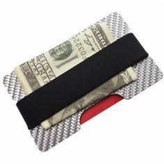 Carbon fiber credit card holder silverred rubber band vertical carbon fiber credit card holder slim rfid blocking band wallets business card holders durable 3k carbon colourmoves
