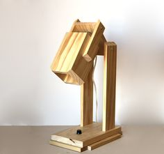 Modern, Rustic, Adjustable Wood Lighting table lamp or wall fixture Desk Light, Lamp Light, Wall Fixtures, Light Fixtures, Lamp Design, Lighting Design, Wooden Lamp, Can Lights, Wooden Crafts