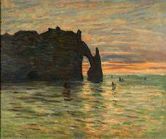Puesta de sol en Etretat, obra del pintor impresionista Monet en la exposición del Museo Thyssen de Madrid - España