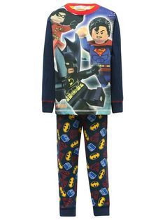 Lego comic superhero pyjamas. He will sleep tight and safe with his favourite comic superheroes in our cool Lego themed pyjamas set. A Long sleeve cotton rich t-shirt with a crew neck and cartoon image of Batman, Robin and Superman ready to set off on an adventure, complete with matching pull on full length bottoms.