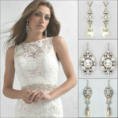 Pearl bridal earrings from Perfect Details complement this lace wedding gown by Madison James perfectly ;) https://perfectdetails.com/bridal-pearl-earrings.htm