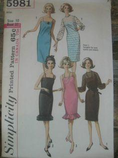 Vintage 60s Slip Dress Variations Sewing Pattern Sz 10 Simplicity 5981   eBay