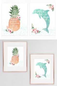 Celebrate your little lady with this set of two tropical nursery prints featuring a pineapple and a dolphin. These verses from the Bible will make the perfect blessings for your little girl's tropical nursery!  #walldecor #girlsnursery #bibleverse #tropicaldecor